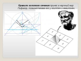 Правило золотого сеченияпринес в научный мир Пифагор, позаимствовав его у е