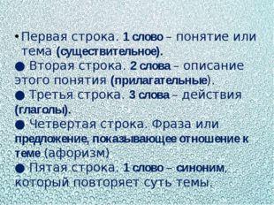 Первая строка. 1 слово – понятие или тема (существительное). ● Вторая строка.