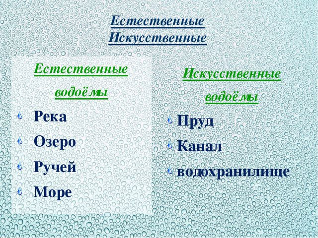 Естественные Искусственные Естественные водоёмы Река Озеро Ручей Море Искусст...