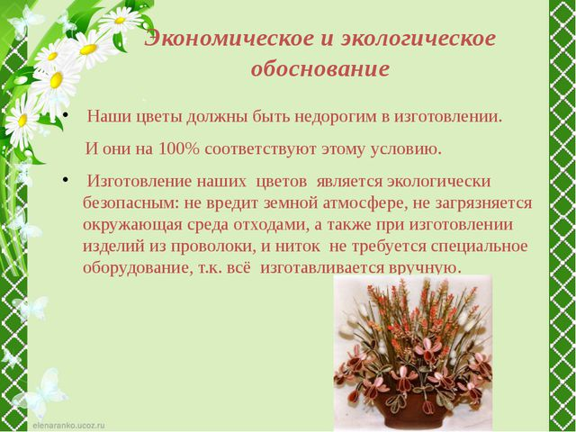 Экономическое и экологическое обоснование Наши цветы должны быть недорогим в...