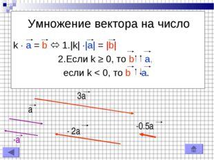 Умножение вектора на число k · a = b  1. k  · a  =  b  2.Если k ≥ 0, то b a,
