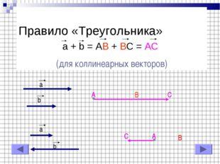Правило «Треугольника» a + b = AB + BC = AC (для коллинеарных векторов) a b