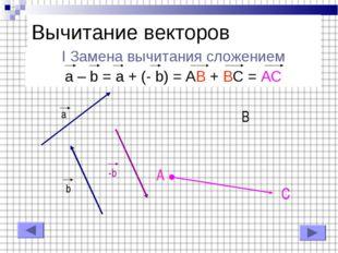 I Замена вычитания сложением a – b = a + (- b) = AB + BC = AC Вычитание векто