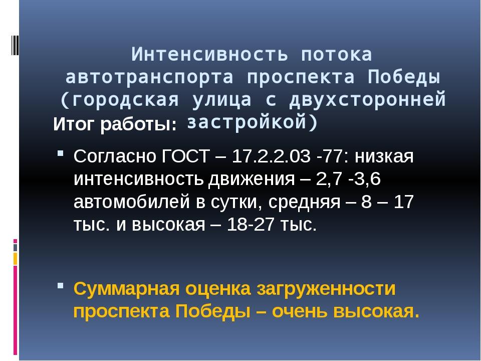 Интенсивность потока автотранспорта проспекта Победы (городская улица с двух...