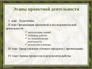 Этапы проектной деятельности I этап Подготовка актуализация знаний плановые р