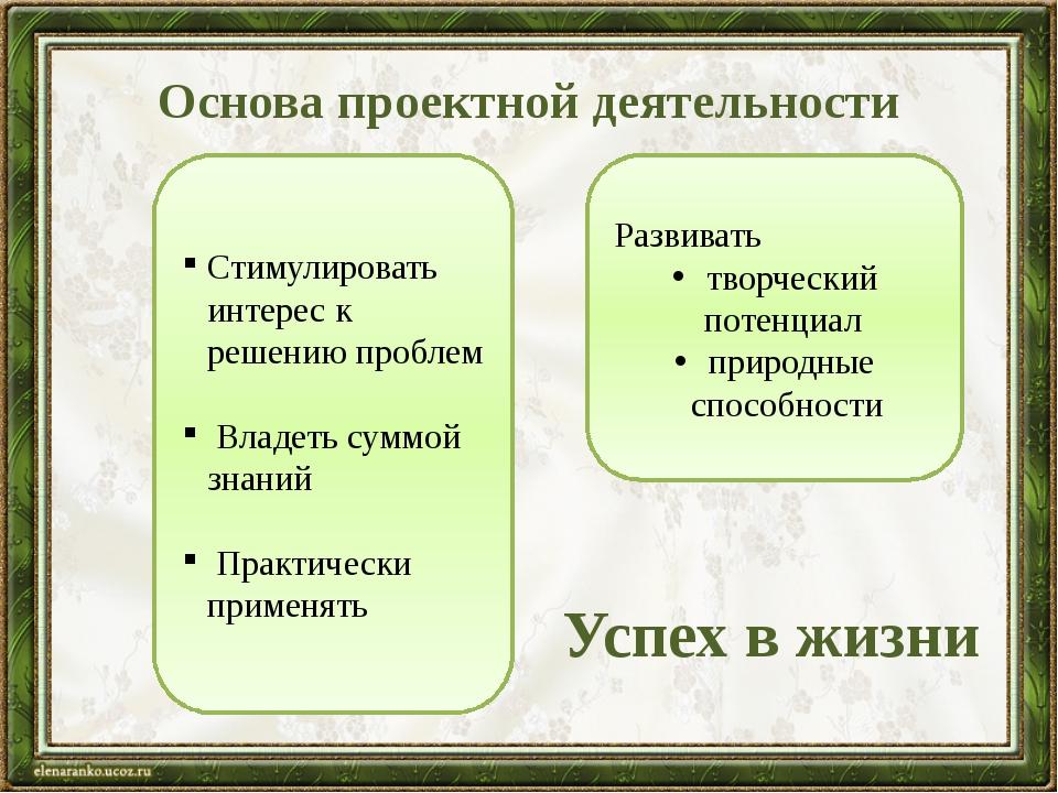 Основа проектной деятельности Стимулировать интерес к решению проблем Владеть...