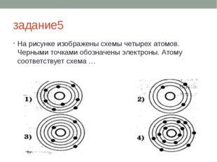 задание5 На рисунке изображены схемы четырех атомов. Черными точками обозначе