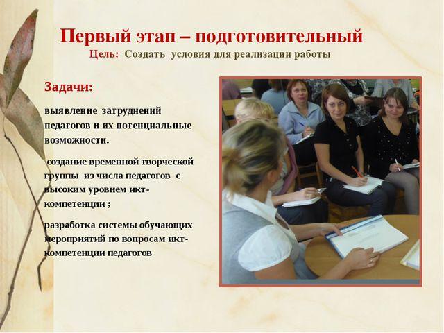 Первый этап – подготовительный Цель: Создать условия для реализации работы За...