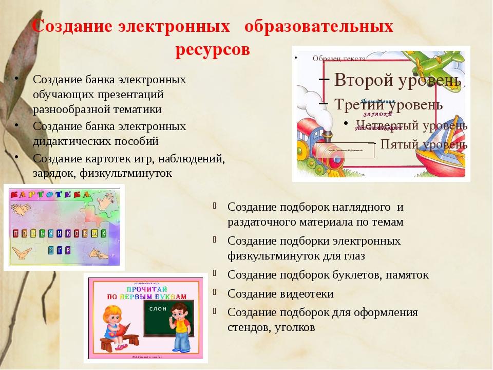 Создание электронных образовательных ресурсов Создание банка электронных обуч...