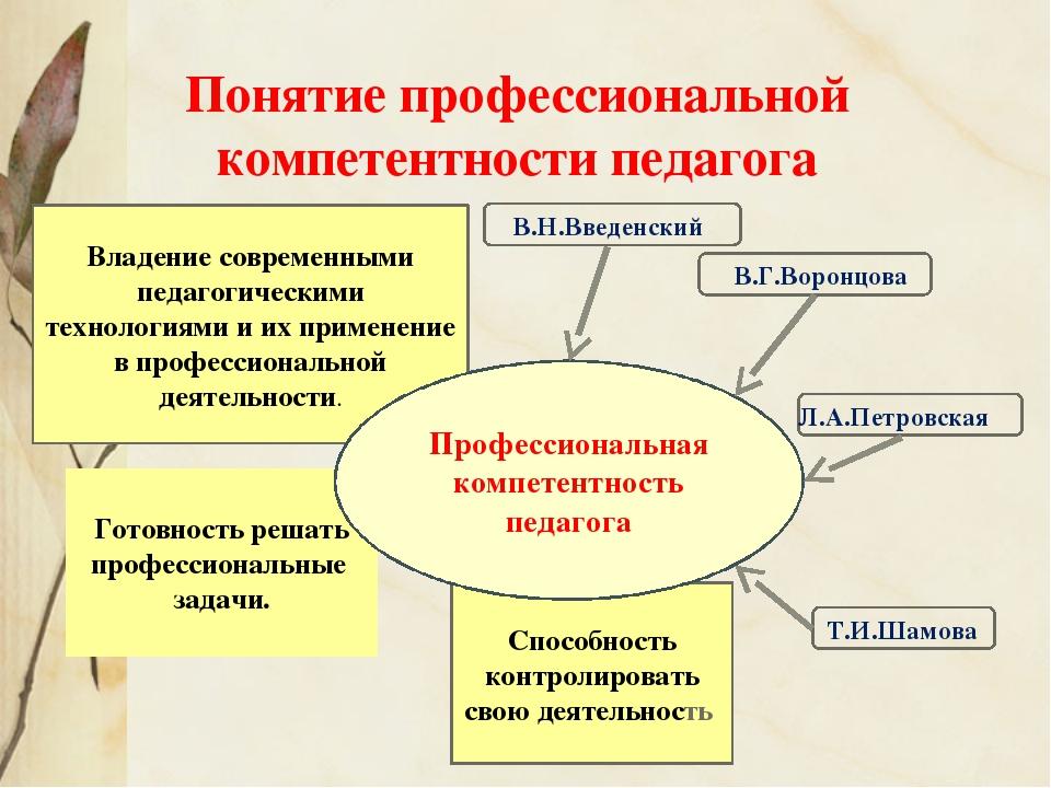 Понятие профессиональной компетентности педагога Владение современными педаго...