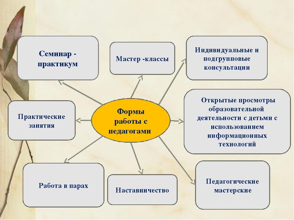 Семинар - практикум Мастер -классы Практические занятия Индивидуальные и под...