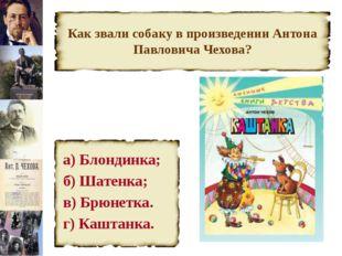Как звали собаку в произведении Антона Павловича Чехова? а) Блондинка; б) Шат