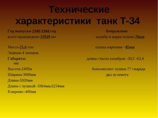 Технические характеристики танк Т-34 Год выпуска-1940-1944 год Вооружение все
