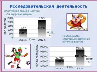 Исследовательская деятельность Кол-во детей Спортивная акция в Братске «За зд