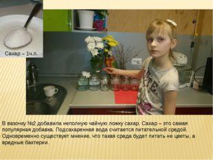 Сахар – 1ч.л. В вазочку №2 добавила неполную чайную ложку сахар. Сахар – это