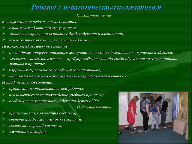 Работа с педагогическим коллективом Психопросвещение Выступления на педагогич...