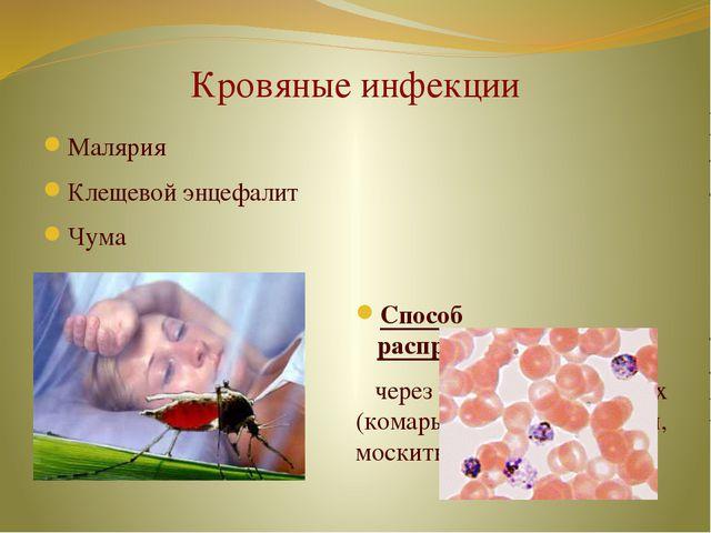 Кровяные инфекции Малярия Клещевой энцефалит Чума Способ распространения: чер...
