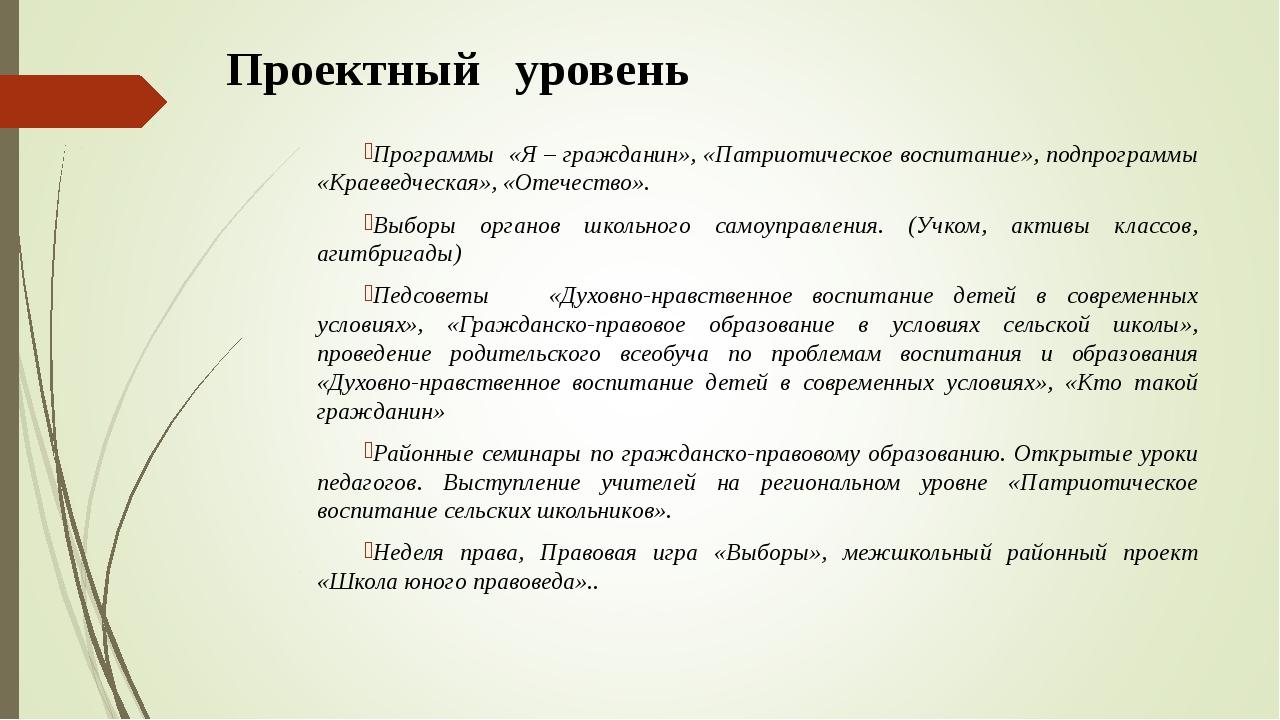 Проектный уровень Программы «Я – гражданин», «Патриотическое воспитание», по...