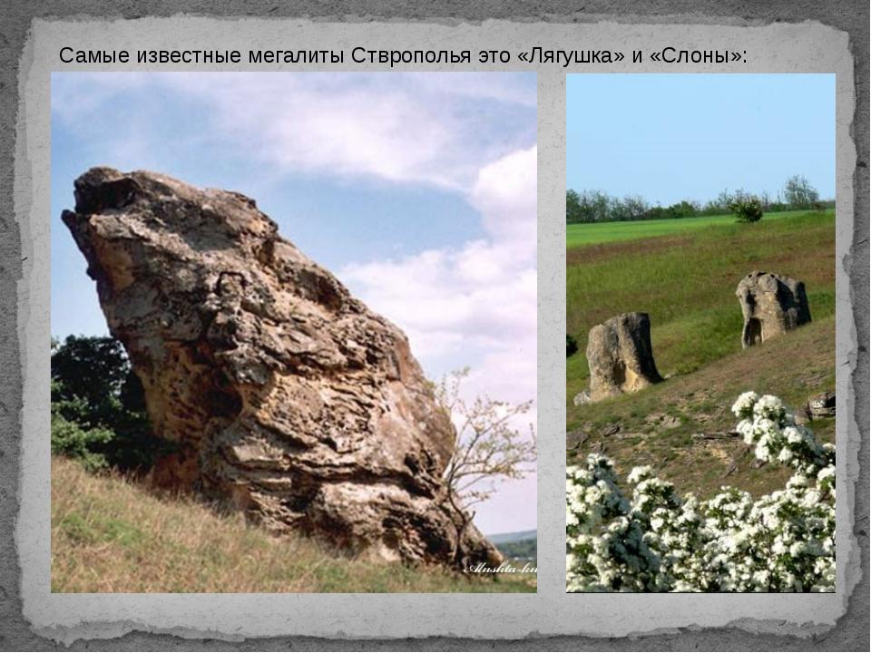 Самые известные мегалиты Стврополья это «Лягушка» и «Слоны»: