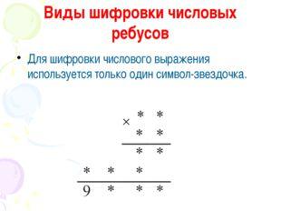 Виды шифровки числовых ребусов Для шифровки числового выражения используется
