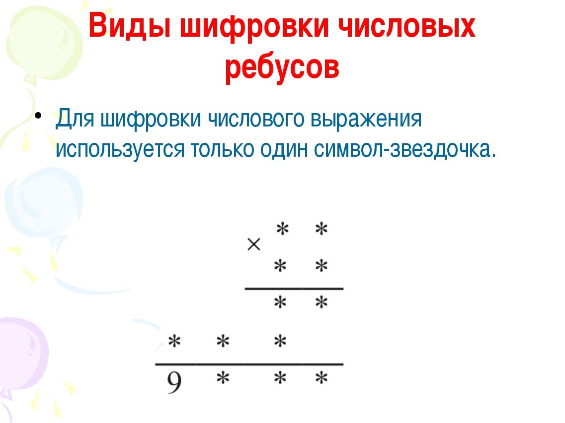 Виды шифровки числовых ребусов Для шифровки числового выражения используется...