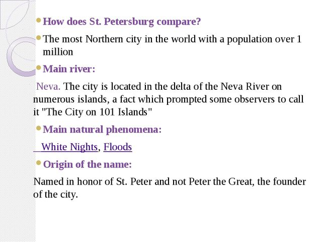 How does St. Petersburg compare? The most Northern city in the world with a p...