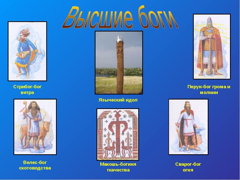 Перун-бог грома и молнии Велес-бог скотоводства Макошь-богиня ткачества Сваро...