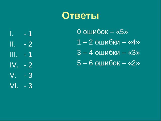 Ответы - 1 - 2 - 1 - 2 - 3 - 3 0 ошибок – «5» 1 – 2 ошибки – «4» 3 – 4 ошибки...