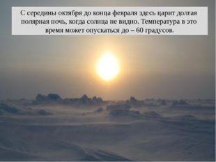 С середины октября до конца февраля здесь царит долгая полярная ночь, когда с