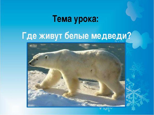 Тема урока: Где живут белые медведи?