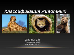 Классификация животных МБОУ СОШ № 55 Степанченко М.В. Краснодар 2015