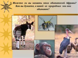 3. Можете ли вы назвать этих обитателей Африки? Как вы думаете, в какой из пр