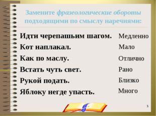 onachishich@mail.ru * * Замените фразеологические обороты подходящими по смыс