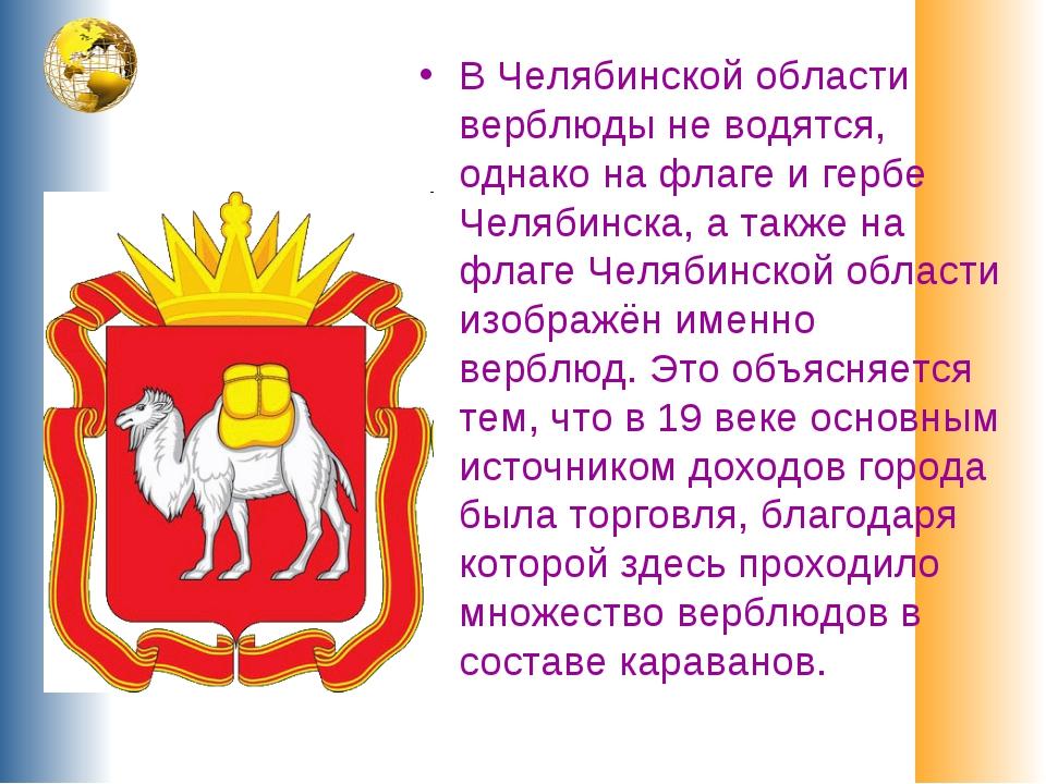 В Челябинской области верблюды не водятся, однако на флаге и гербе Челябинска...