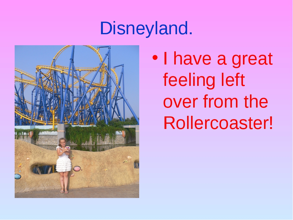 Disneyland. I have a great feeling left over from the Rollercoaster!