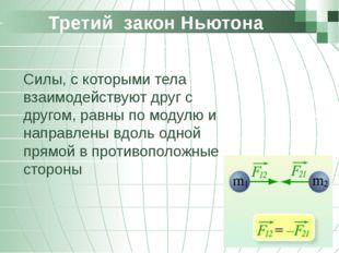 Третий закон Ньютона Силы, с которыми тела взаимодействуют друг с другом, ра