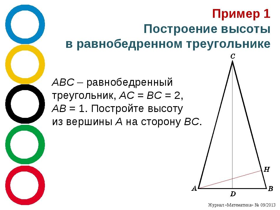 Пример 1 Построение высоты вравнобедренном треугольнике ABC – равнобедренный...