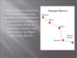 Пушкин едет по старинному Владимирскому тракту, печальной дороге без возврат