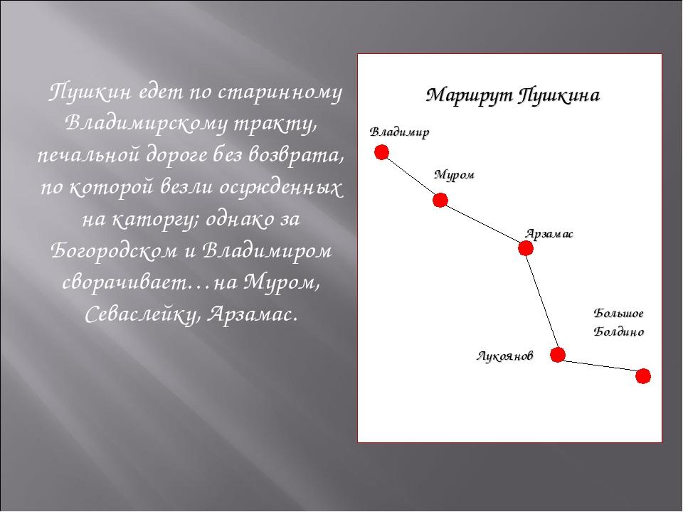 Пушкин едет по старинному Владимирскому тракту, печальной дороге без возврат...