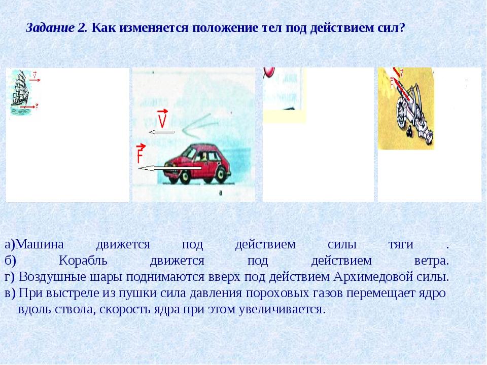 Задание 2. Как изменяется положение тел под действием сил? а)Машина движется...
