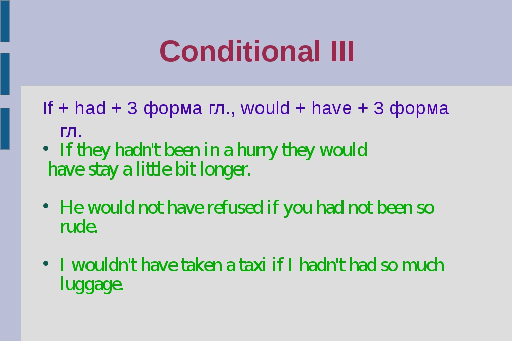 Conditional III If + had + 3 форма гл., would + have + 3 форма гл. If they ha...