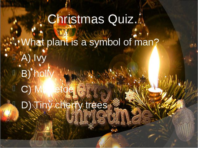 Christmas Quiz. What plant is a symbol of man? A) Ivy B) holly C) Mistletoe...