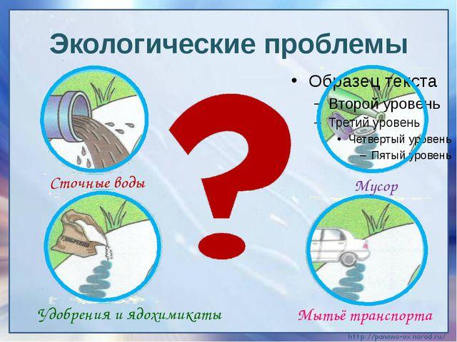 Экологические проблемы Сточные воды Мусор Удобрения и ядохимикаты Мытьё транс...
