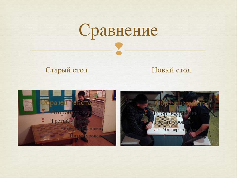 Сравнение Старый стол Новый стол 