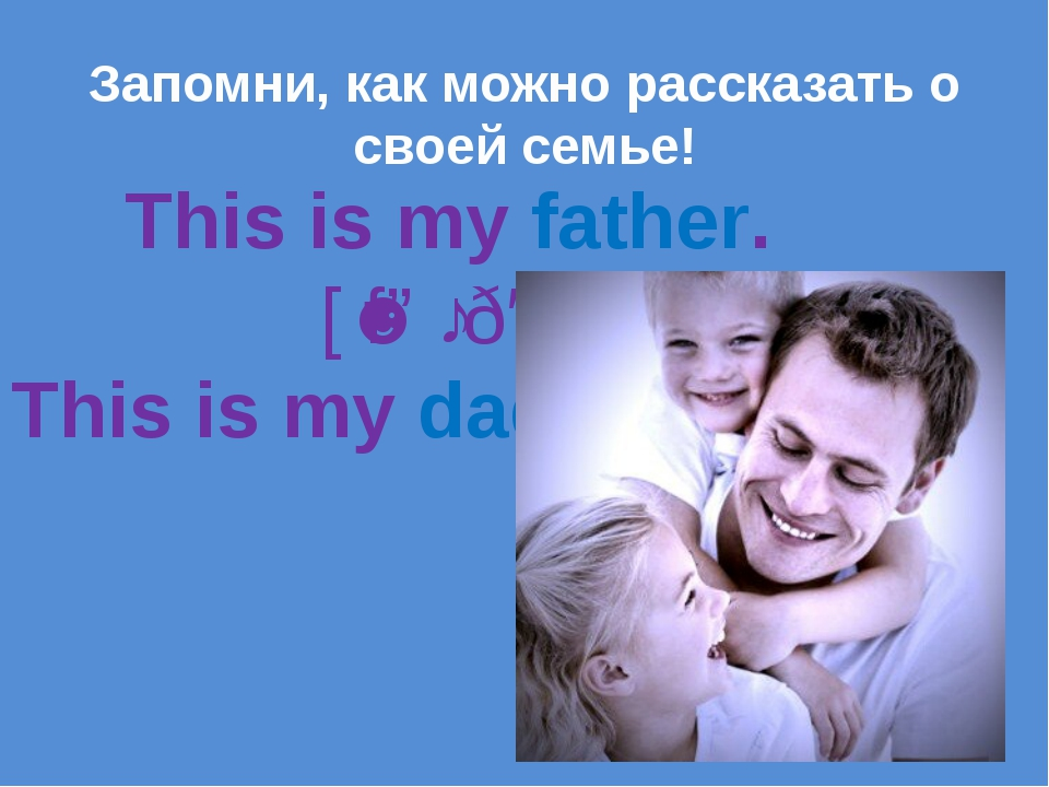 This is my father. [ˈfɑːðə] This is my dad. Запомни, как можно рассказать о...