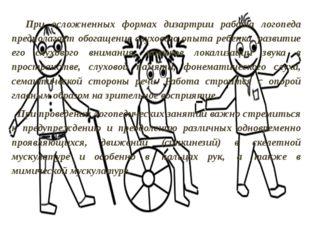 При осложненных формах дизартрии работа логопеда предполагает обогащение слу