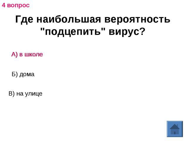 """Где наибольшая вероятность """"подцепить"""" вирус? А) в школе Б) дома В) на улице..."""
