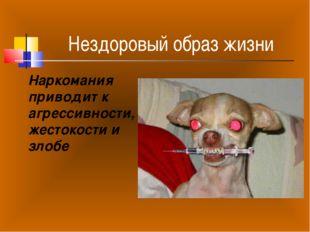 Нездоровый образ жизни Наркомания приводит к агрессивности, жестокости и злобе