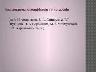 Узагальнена класифікація типів уроків (за В.М.Андрієвою, Б. А. Онищуком, Г.Т.