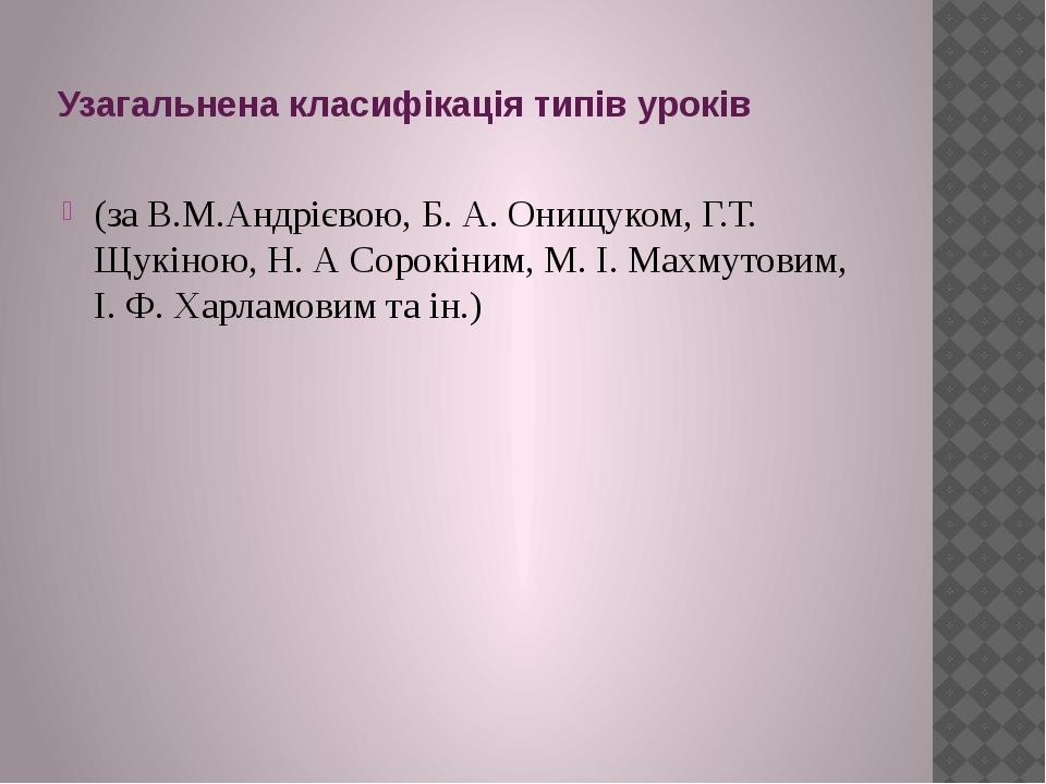 Узагальнена класифікація типів уроків (за В.М.Андрієвою, Б. А. Онищуком, Г.Т....